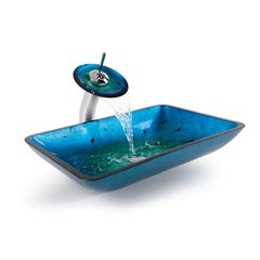 "22"" Irruption Blue Vessel Sink w/ Faucet - Chrome"