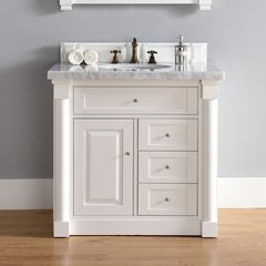 "36"" New Haven Single Vanity w/ Galala Beige Top-Cott White"