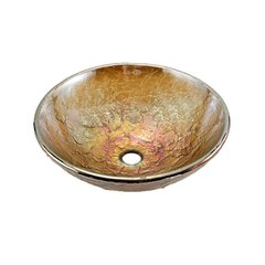 "16"" Diameter Vessel Bathroom Sink - Green Reflections"