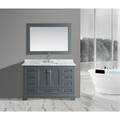 "54"" Omega Single Sink Bathroom Vanity Set-Gray"