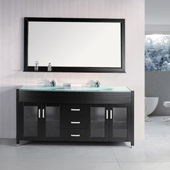 "72"" Waterfall Double Sink Bathroom Vanity - Espresso"