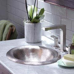 "18"" x 15"" Maestro Lotus Drop-In Bathroom Sink-Brushed Nickel"