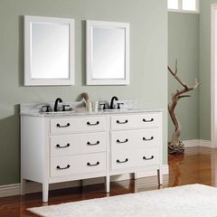 "61"" Delano Double Vanity - White Glaze w/ Carrara White Top"