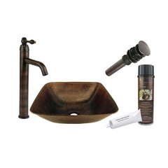 "14"" x 14"" Square Vessel Sink Package - Oil Rubbed Bronze"