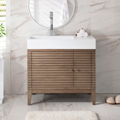 "36"" Linear Single Vanity w/ Brite White Top-Whitewash Walnut"