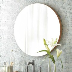 "28"" Solace Round Wall Mount Mirror - Caramel Bamboo"