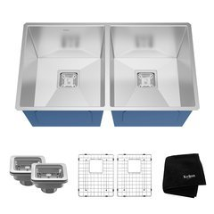 "31"" Undermount Double Bowl Kitchen Sink-Stainless Steel"