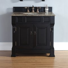 "60"" Brookfield Double Vanity w/ Santa Cecilia Top-Ant. Black"