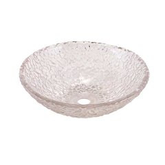 "16"" x 5-1/2"" Glass Vessel Bathroom Sink - Crystal"