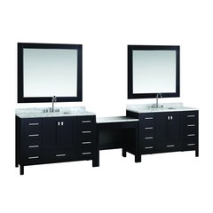 "Two 48"" London Single Sink Vanity w/ Make-up Table -Espresso"
