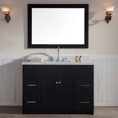 "49"" Hamlet Single Sink Vanity w/ White Quartz Top - Black"
