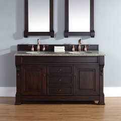 "60"" Brookfield Double Vanity w/ Santa Cecilia Top-Burn Mahog"