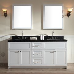 "73"" Hamlet Double Sink Vanity w/ Black Granite - White"