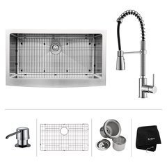 "36"" Farmhouse Single Bowl Kitchen Sink Package-Chrome"