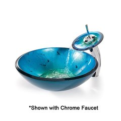 "16"" Irruption Blue Vessel Sink w/ Faucet - Satin Nickel"