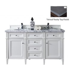 """60"""" Brittany Double Vanity w/Black Rustic Top- Cottage White"""