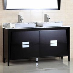 "60"" Double Sink Bathroom Vanity - Dark Espresso/White Top"