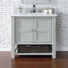 "36"" Madison Single Vanity w/ Carrara White Top-Dove Gray"