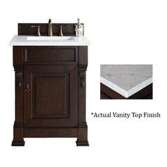 "26"" Brookfield Vanity w/Cararra White Top-Burnished Mahogany"