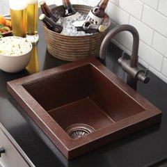 "17"" x 15"" Mahattan Raised Profile Drop-In Bar Sink - Copper"