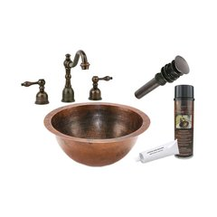"14"" x 14"" Round Undermount Sink Package - Oil Rubbed Bronze"