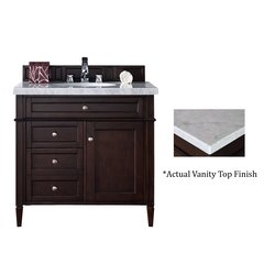 "36"" Brittany Vanity w/Cararra White Top - Burnished Mahogany"