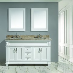 "60"" Hudson Double Sink Vanity w/ Carrara Marble Top -White"
