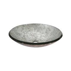 "18"" Diameter Round Vessel Bathroom Sink - Metallic Silver"