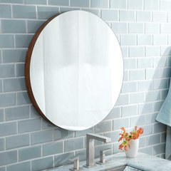 "28"" Solace Round Wall Mount Mirror - Woven Strand Bamboo"