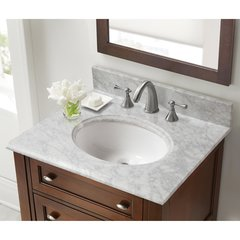 "25"" x 22"" Single Bowl Vanity Top Only w/Basin -Carrara White"