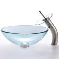 "16"" Clear Vessel Sink w/ Faucet - Clear/Satin Nickel"
