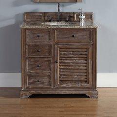 "36"" Savannah Single Vanity w/ Santa Cecilia Top-Driftwood"