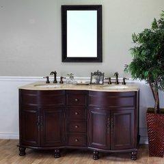 "62"" Double Sink Bathroom Vanity - Walnut/Travertine Top"
