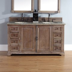 "60"" Providence Double Vanityw/ Santa Cecilia Top-Driftwood"