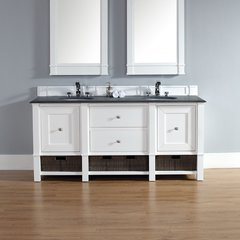 "72"" Madison Double Vanity w/ Absolute Black Top-Cott White"