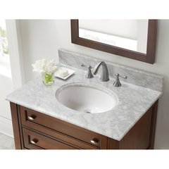 "31"" x 22"" Single Bowl Vanity Top Only w/Basin -Carrara White"