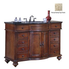 "48"" Arlington Single Vanity w/ Gold Top - Distressed Cherry"