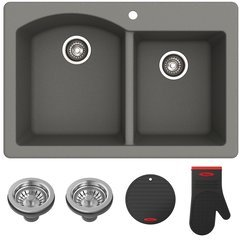 "Fortenza 33"" Dual Mount Kitchen Sink-Grey Granite"