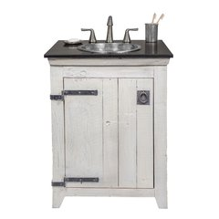 "24"" Paloma Vanity Suite w/ Nickel Sink - Whitewash"