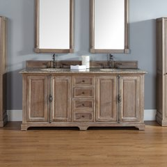 "72"" Providence Double Vanity w/ Santa Cecilia Top-Driftwood"