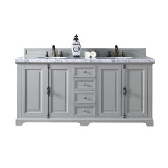 "72"" Providence Double Vanity w/Cararra White Top -Urban Gray"