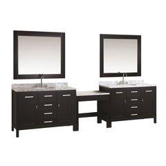 "Two 48"" London Single Sink Vanity w/ Make-up Table -Espresso"