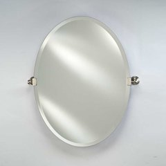 "Radiance Tilt Traditional 24"" Oval Mirror - Polished Nickel"