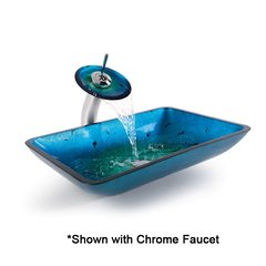 "22"" Irruption Blue Vessel Sink w/ Faucet - Satin Nickel"
