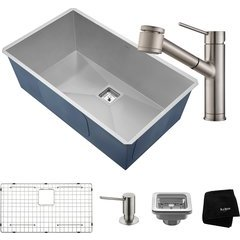 "31.5"" Undermount Single Bowl Kitchen Sink Package Stainless"