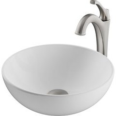 13.69 Inch Elavoâ?¢ Vessel Sink with Faucet - White/Spot Free Brushed Nickel