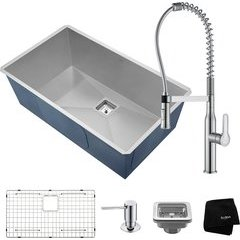 "Pax 31"" Undermount Single Bowl Kitchen Sink Package Chrome"
