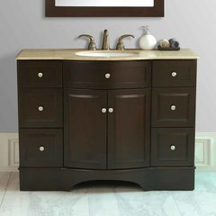"48"" Lotus Single Vanity - Dark Cherry/Travertine Top"