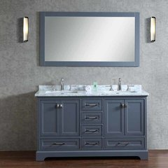 "60"" Chanel Double Vanity - Gray/White Carrara White Top"