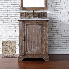 "26"" Providence Single Vanity w/ Santa Cecilia Top-Driftwood"